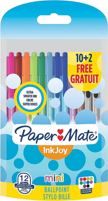 1956645 colori standard assortiti Paper Mate InkJoy Mini 100 RT Penna a sfera a scatto con punta media da 1,0 mm confezione da 4