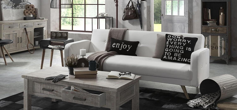 Tendance canapé cuir blanc - Aménager son salon, divans, sofa ...