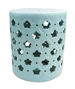 "Ravenna Home Traditional Clover Pattern Ceramic Garden Stool or Side Table,16"" H, Light Blue"