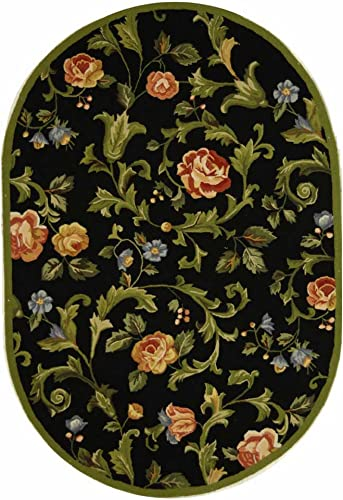 Safavieh Chelsea Collection HK310B Hand-Hooked Black Premium Wool Oval Area Rug 7 6 x 9 6 Oval