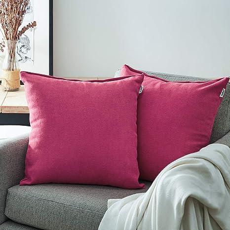 Topfinel juego 2 Fundas cojines Cama Sofas de Chenilla Algodón Lino duradero Almohadas Decorativa de color sólido Para Sala de Estar, sofás, camas, ...