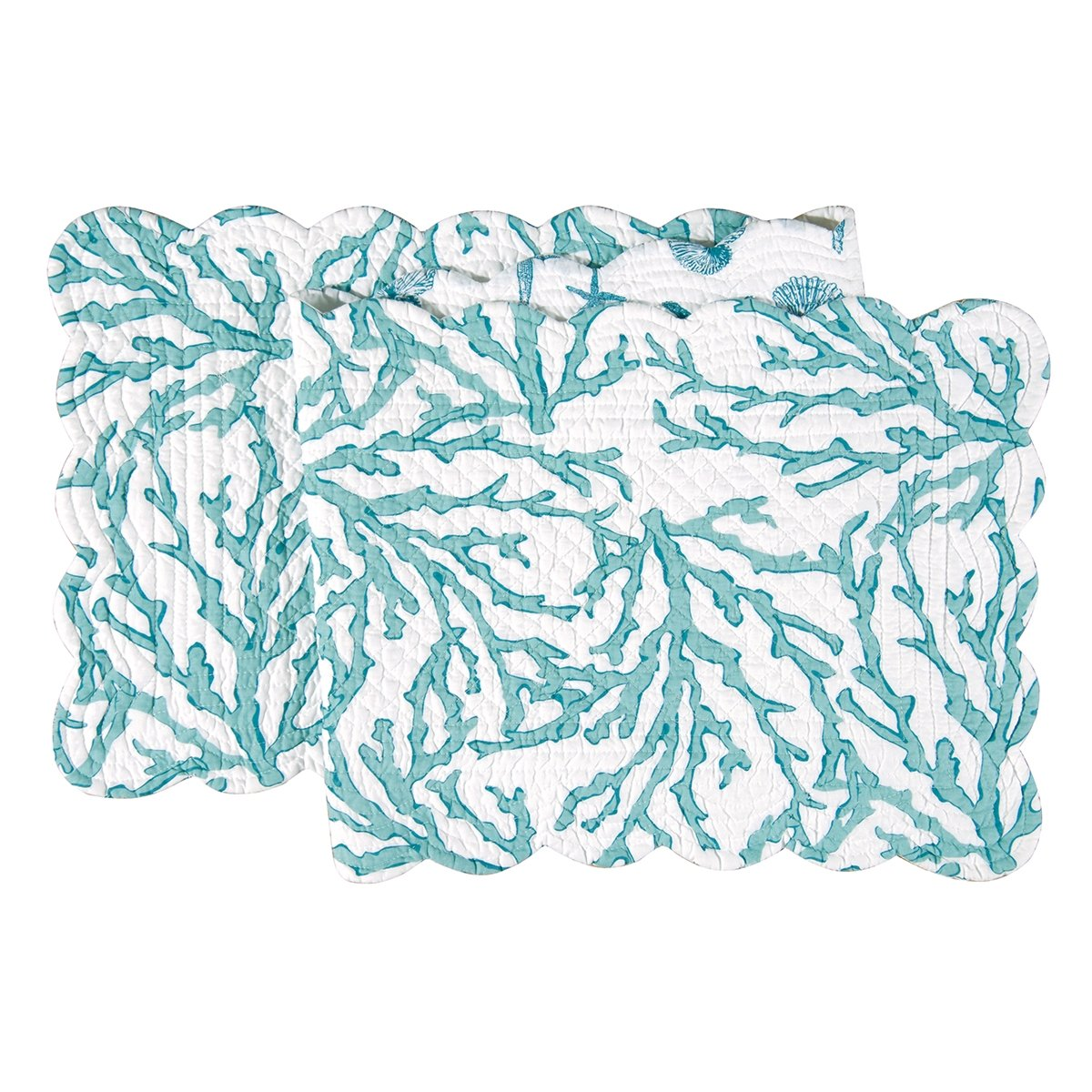 C&F Home 14x51'' Quilted Scallop Edge Reversible Table Runner, Cora Blue