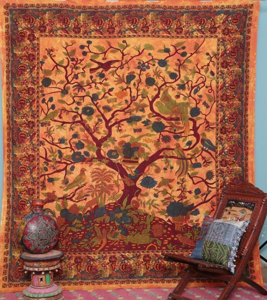 Popular Handicrafts Tree Of Life Bohemian Psychedelic Intricate Floral Design Indian Bedspread Tapestry 90x84 Inches,(230cmsx215cms) Orange