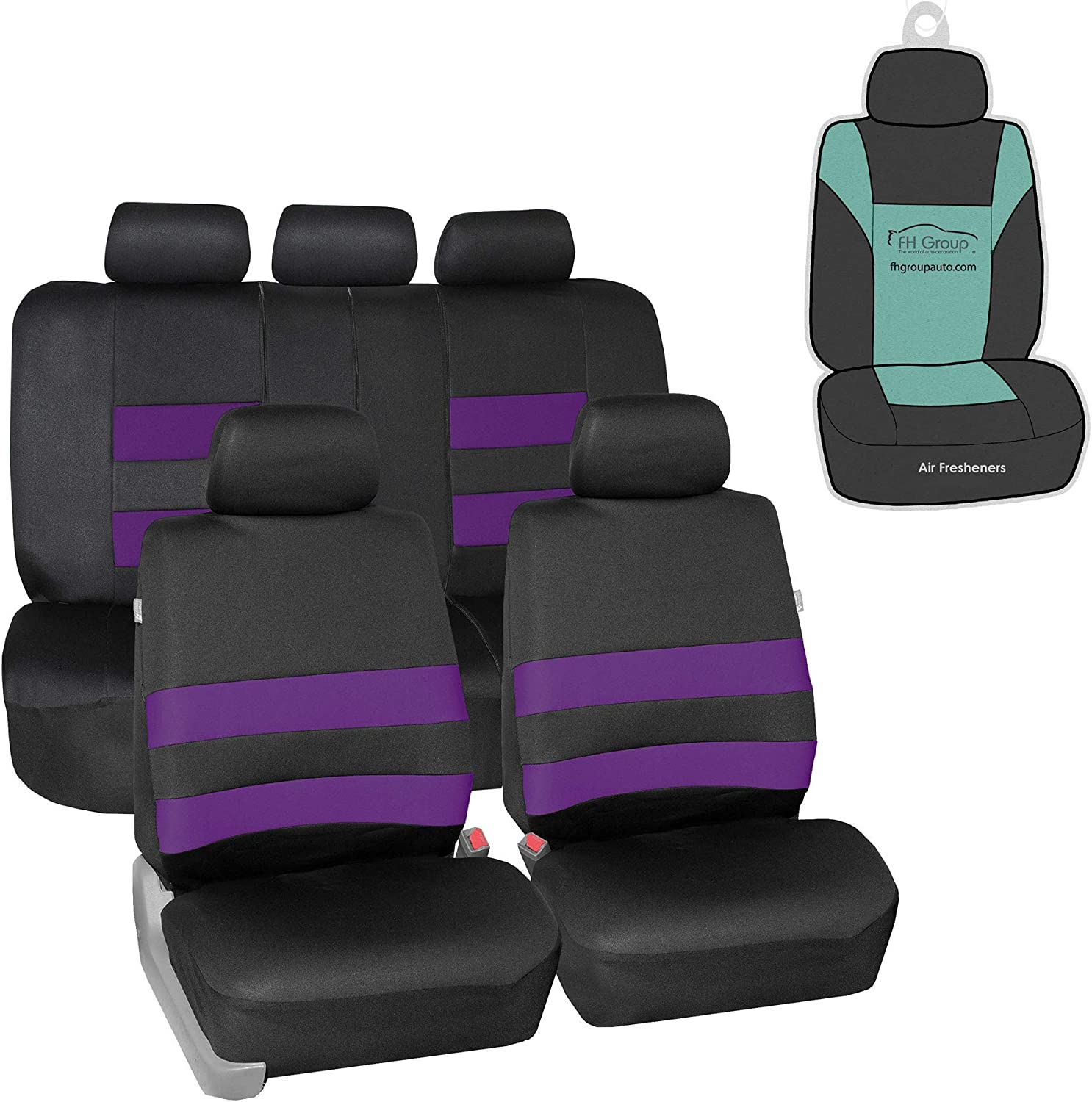 FH Group FB087115 Premium Neoprene Seat Covers (Purple) Full Set with Gift - Universal Fit for Cars Trucks and SUVs