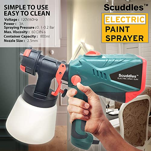 Scuddles Electric paint sprayer features 3 Unique spray patterns that is made it become one of the best house paint sprayers.