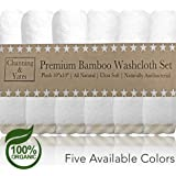 Premium Baby Washcloths - (6 Pack) Certified Organic Baby Wash Cloths by Channing & Yates - Soft Bamboo Face Towels - 10 x 10in - Bath Washcloths Eczema - Adult Washcloths (Beige/White)