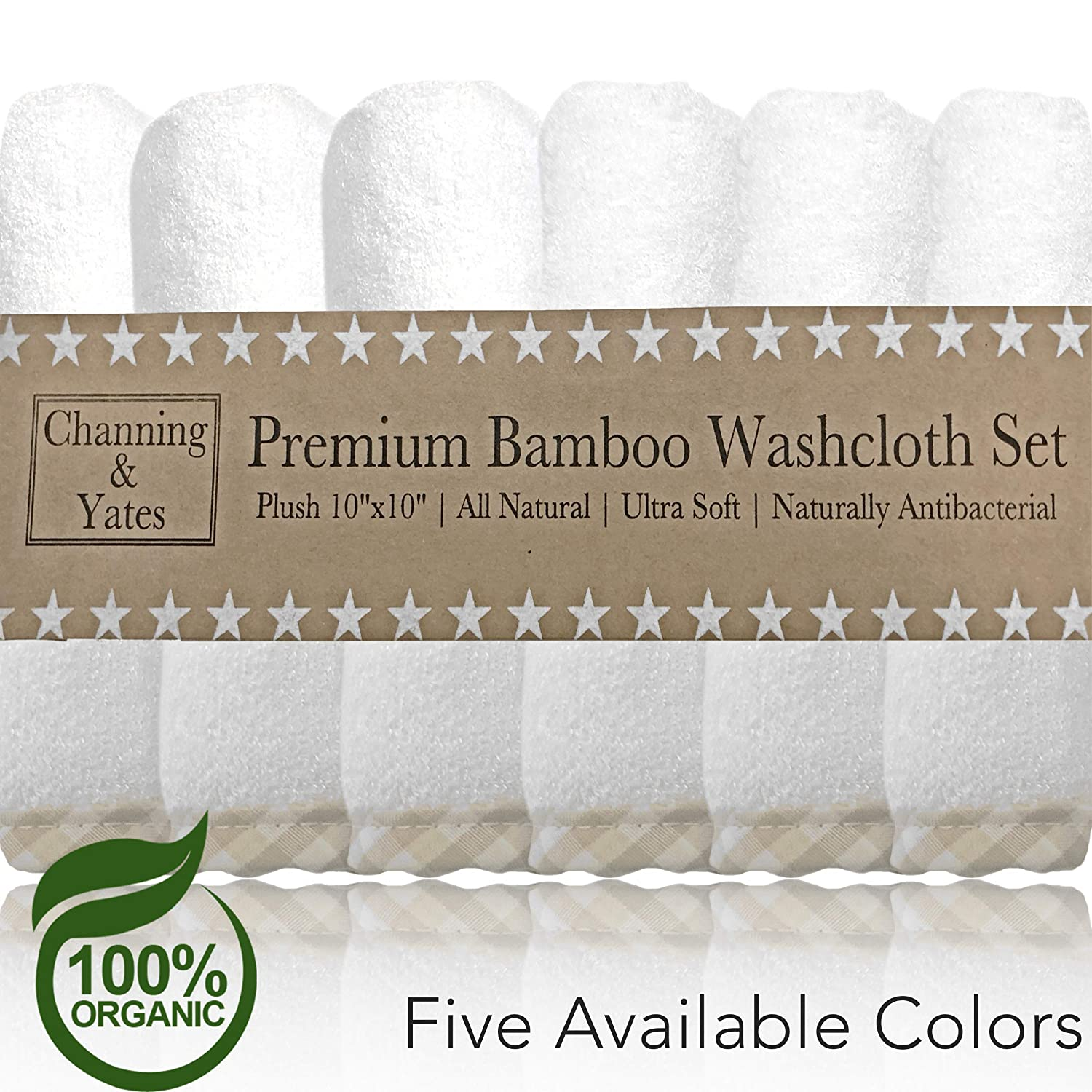 Bamboo Wash Cloth 6 Hypoallergenic /& Antibacterial Extra Soft Thick All Natural