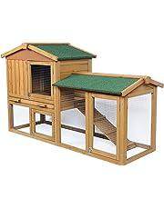 EUGAD 0034HT Gabbia per Conigli Criceto Conigliera da Esterno Giardino Casa per Piccoli Animali in Legno di Abete