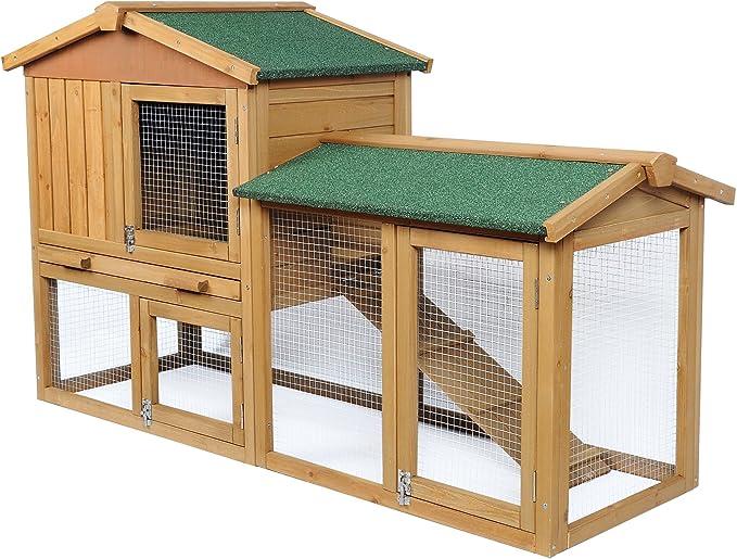 EUGAD Conejera de Exterior Madera Gallineros Casa para Conejos Cobayas Hámster Mascotas Jaula para Conejo Animales Pequeños Impermeable 2 Niveles, 3 Puertas 85x147x53cm 0034HT