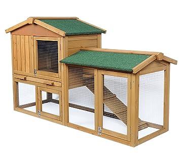 EUGAD Conejera de Exterior Madera Casa para Conejos Cobayas Hámster Mascotas Jaula para Conejo Animales Pequeños Impermeable 2 Niveles, ...