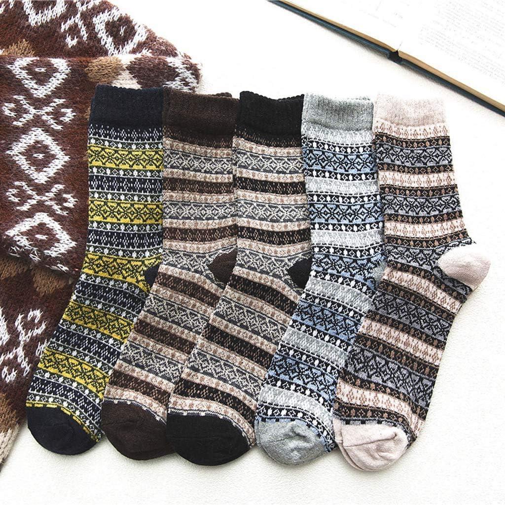 Winter Thick Warm Wool Socks Middle Stockings Knit Socks Five Pairs Simayixx Unisex Vintage Colorful Soft Socks