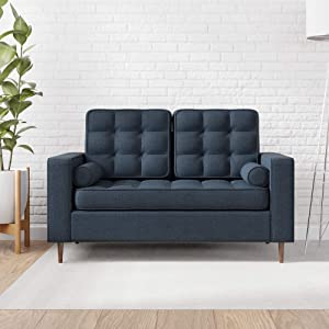 Edenbrook Lynnwood Upholstered Loveseat with Square Arms and Tufting-Bolster Throw Pillows Included, Navy