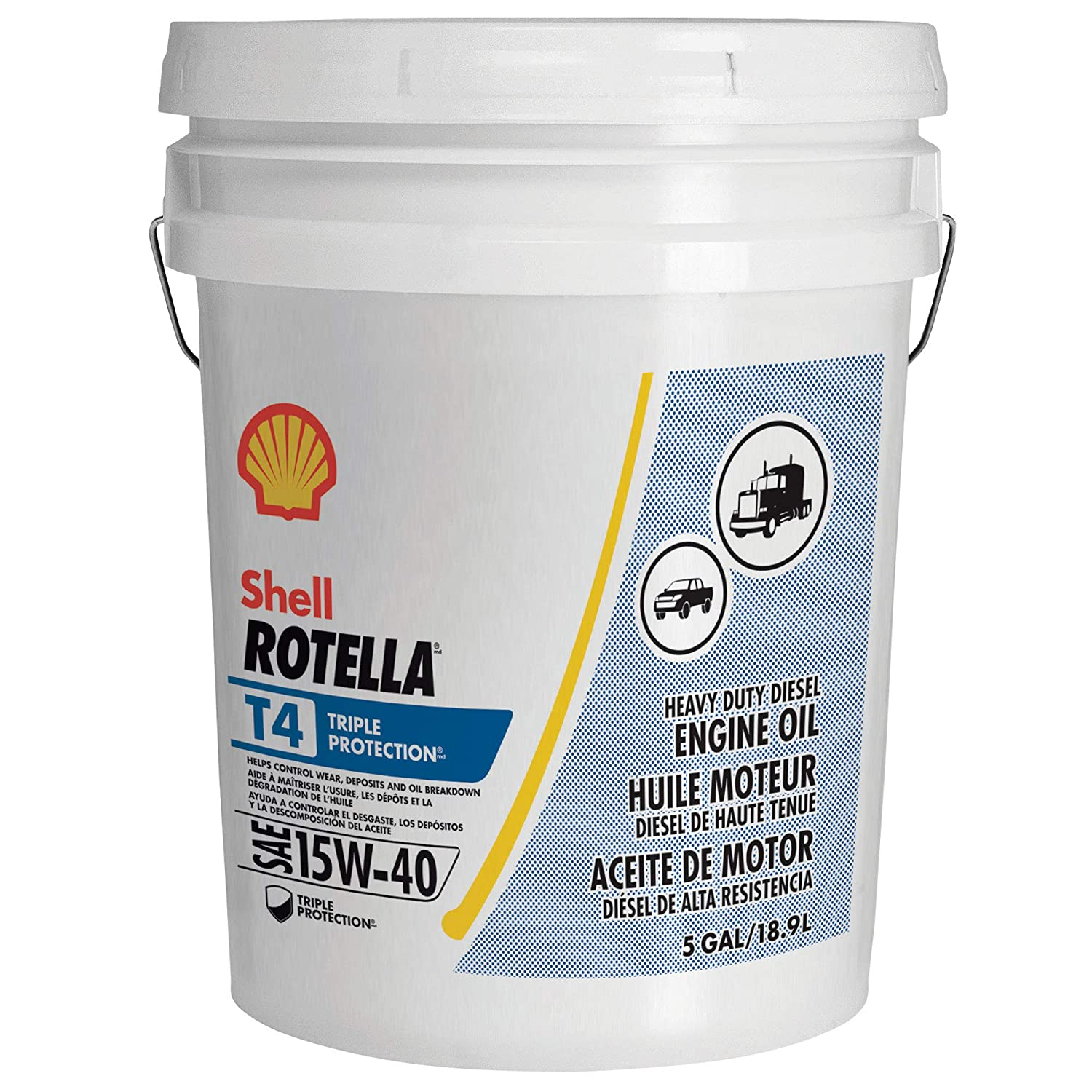 Shell Rotella T4 >> Shell Rotella T4 Triple Protection Conventional 15w 40 Diesel Engine Oil 5 Gallon Pail