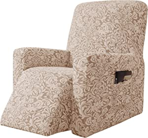 subrtex Stretch Rocking Recliner Silpcover Lazy Boy Chair Covers Non-silp for Leather and Fabric Sofa with Side Pocket (Oatmeal, Recliner)