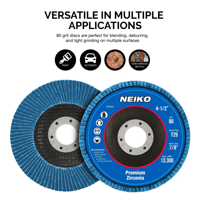 Neiko 11142A Premium Zirconia Flap Disc 4.5 x 7//8-Inch 40 Grit Bevel Type #29-10 Pack