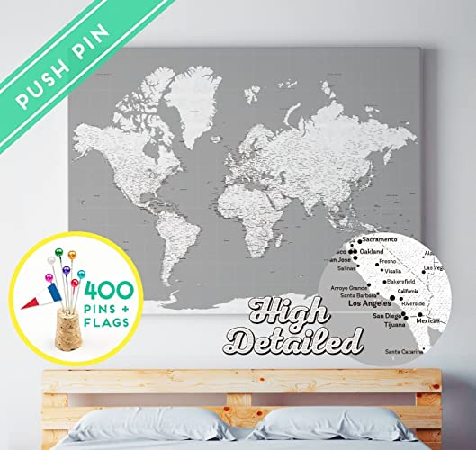 Amazon world map canvas pin board gray white ready to hang world map canvas pin board gray white ready to hang 400 pins world gumiabroncs Images