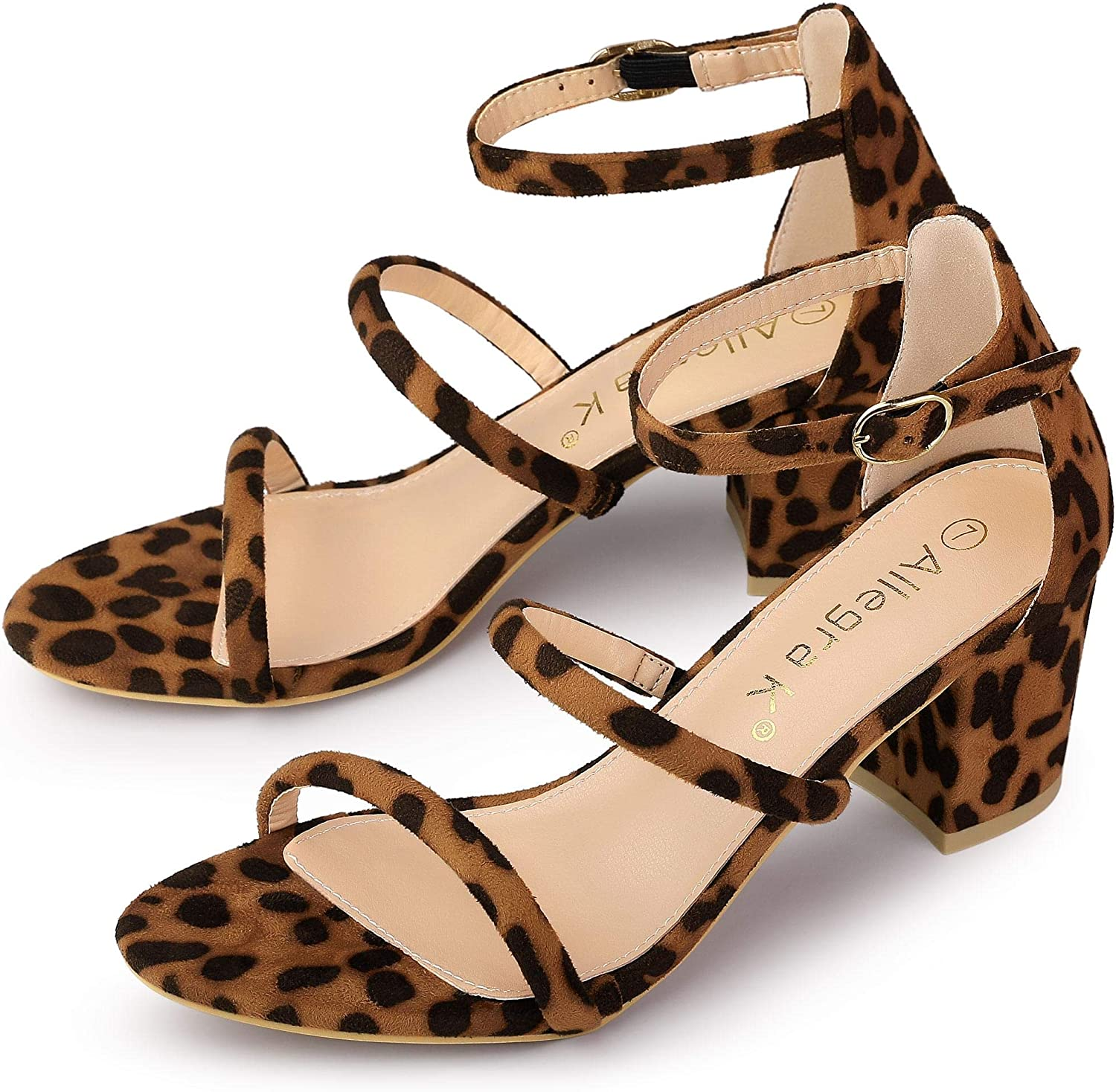 Allegra K Women's Open Toe Strap Ankle Heels Sandals Quantity limited Chunky Cheap sale