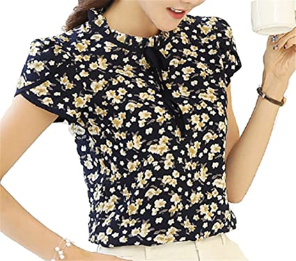 NEW Summer Floral Print Chiffon Blouse Ruffled Collar Bow Neck Shirt Petal Short Sleeve Chiffon Tops