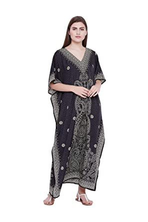 Goood Times Black Paisley Long Kaftan Kimono Maxi Dress Plus Size Caftan  Gown Nightdress Kimono Women