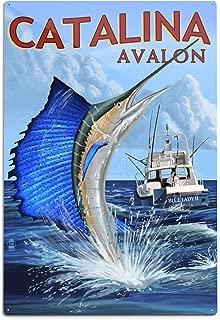 product image for Lantern Press Catalina Island, California, Avalon, Sailfish (12x18 Aluminum Wall Sign, Wall Decor Ready to Hang)