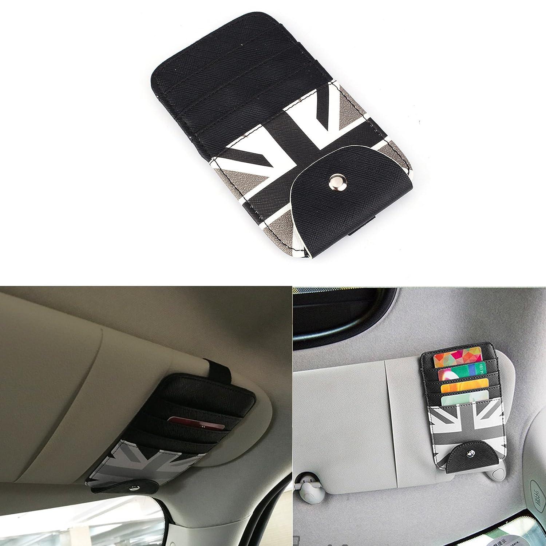 TTN Grey Union Jack Car Sun Shade Visor Slot Card Bag Pocket Pouch Holder Case For Mini Cooper F55 F56 R50 R52 R53 R55 R56 R60 R61