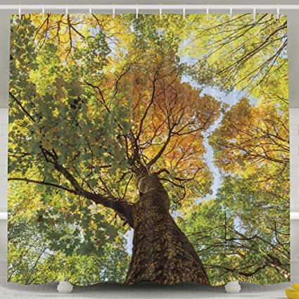XsWu Art Collection African Golden Tree Of Life With Falling Leaves On Wood Background Shower Curtain