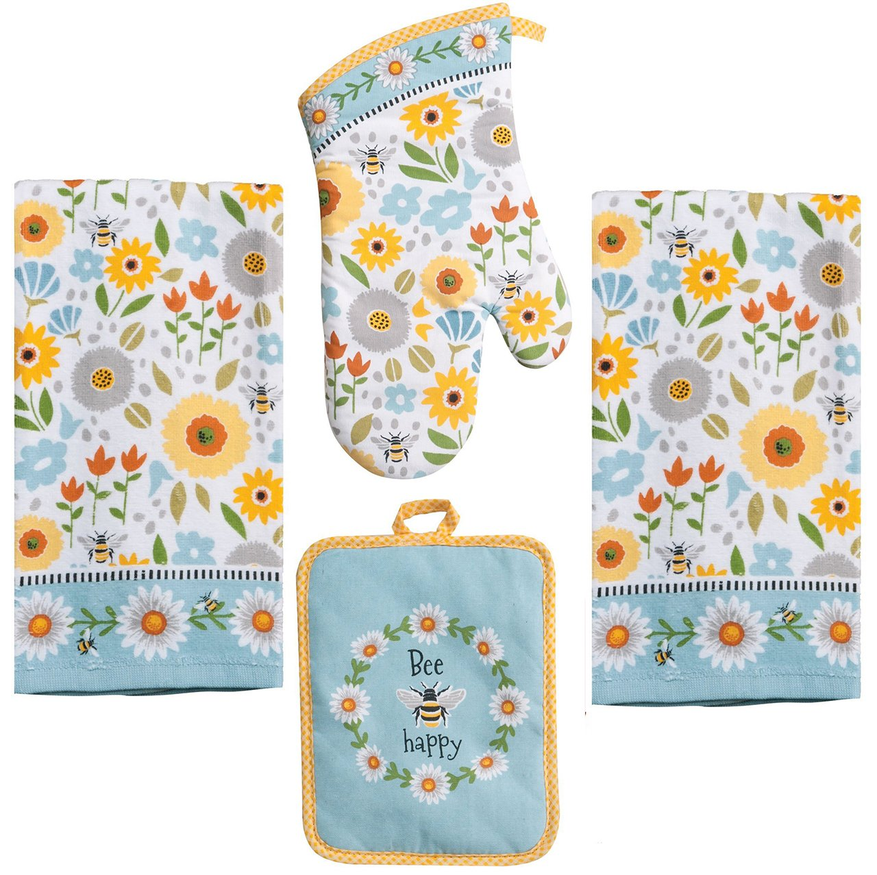 Kay Dee 4 Piece Kitchen Set - 2 Terry Towels, Oven Mitt, Potholder (Garden Bee)