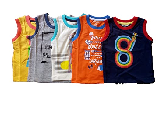 514eff4f Cucumber Boy's and Girl's Cotton Sleeveless T-Shirt (Orange, Navy Blue, Off  White, Yellow, Grey, 3-6 Months) - Set of 5: Amazon.in: Clothing &  Accessories
