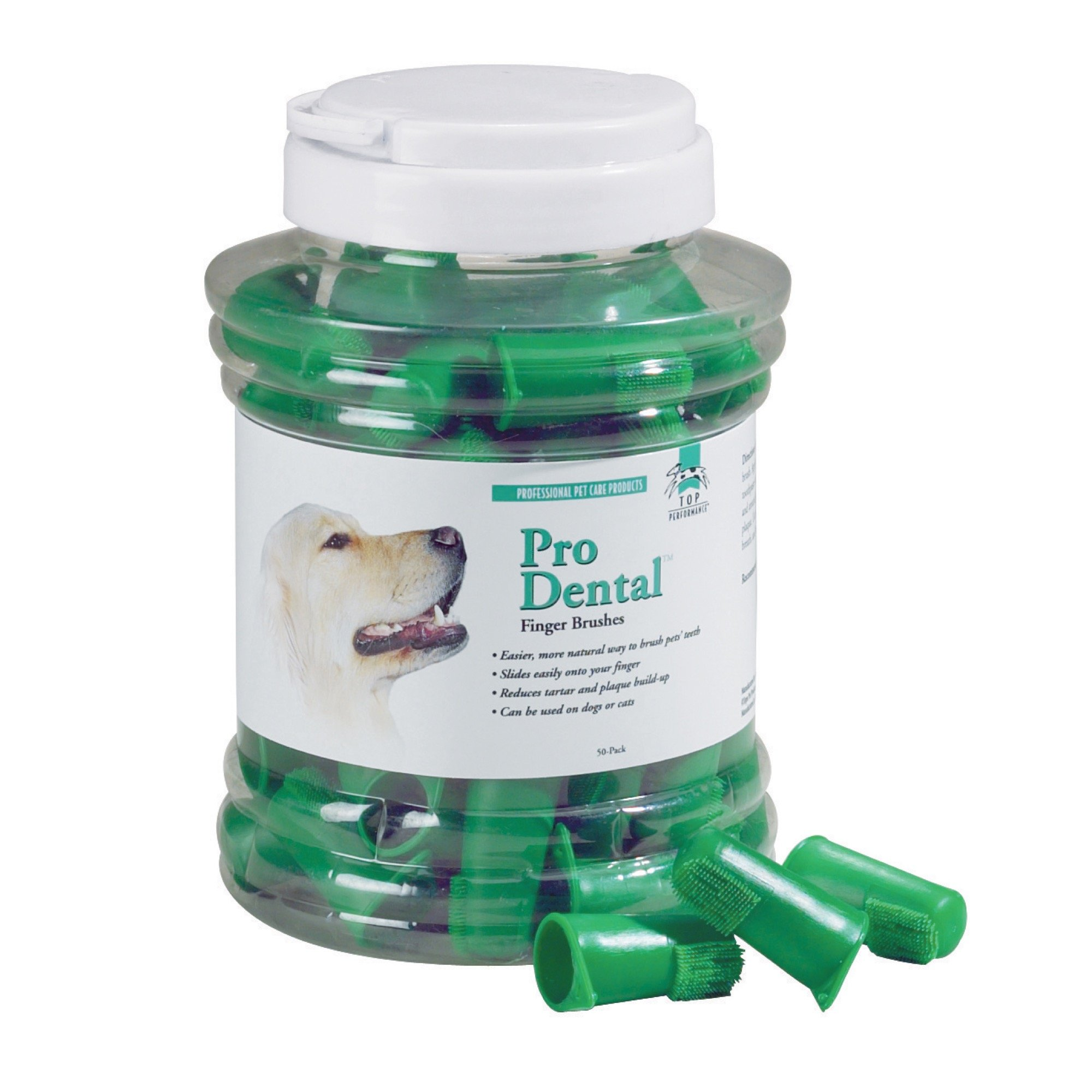 Top Performance ProDental Finger Brushes — Convenient Toothbrushes for Cleaning Pets' Teeth, 50-Pack