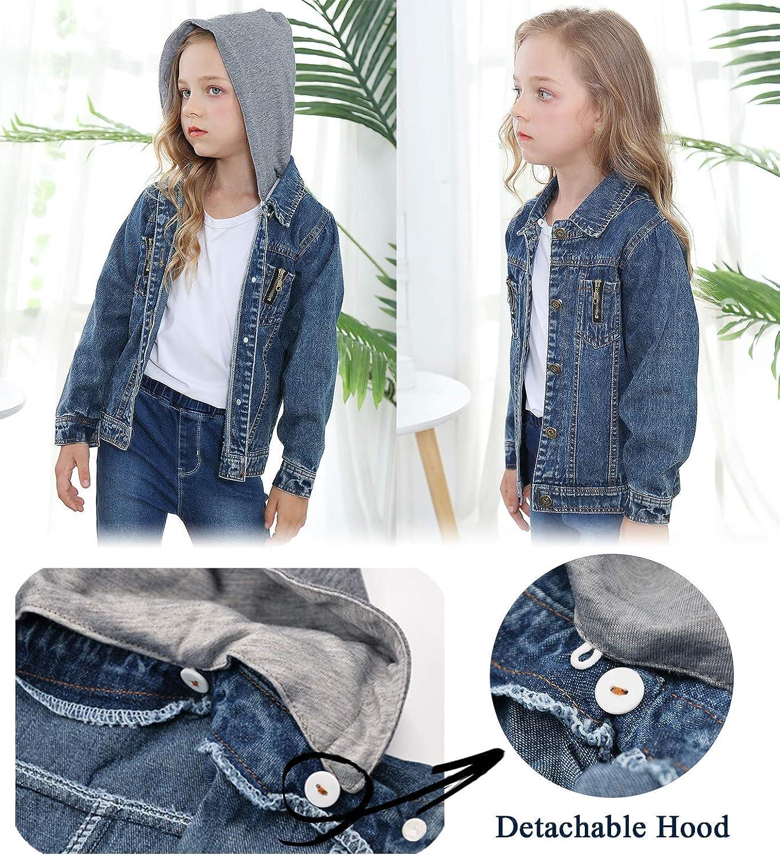 Veste en Jean Gar/çon /à Capuche Amovible Blouson en Denim Fille Manteau Enfants Manches Longues Mode Cowboy Jacket /Âge 3-10 Ans