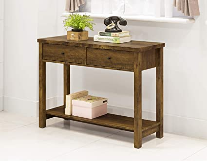 Rustic Amber Finish 2 Tier Console Sofa Accent Table Shelf With Two Drawers