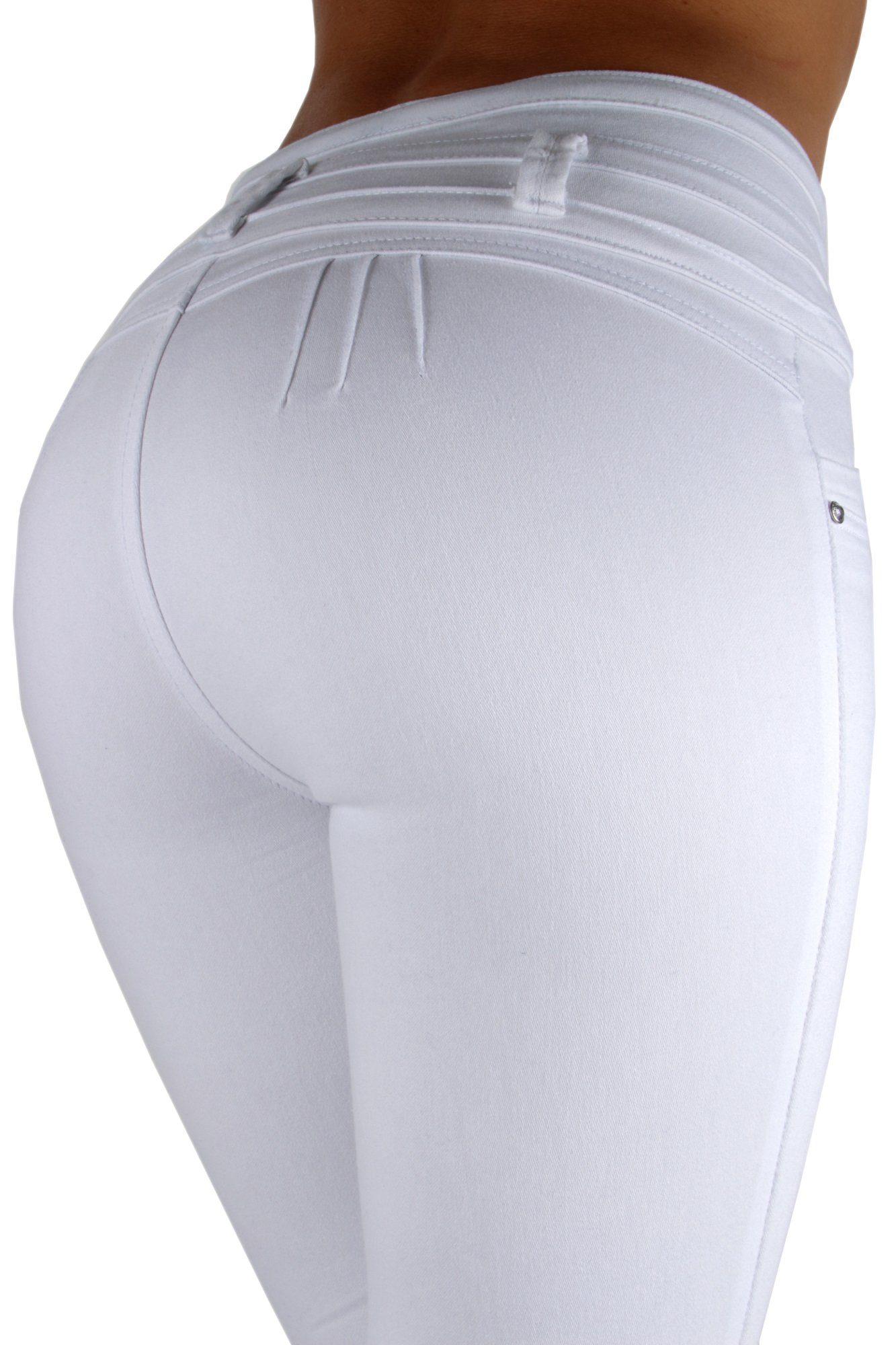 Fashion2Love K1031 - Colombian Design, Levanta Cola, High Waist Skinny Jeans in White Size 1