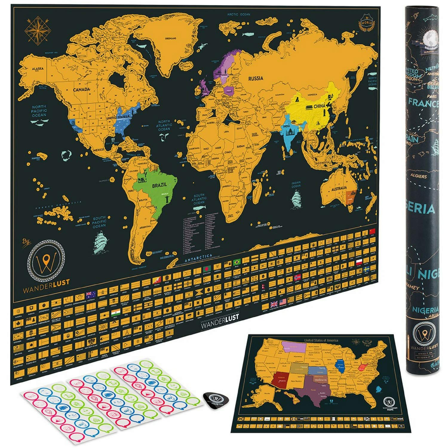 Scratch Off World Map + Premium Scratch Off USA Map - Deluxe Tube Can Be Gift Messaged and Includes Precision Scratch Tool and Travel Memory Stickers, by Wanderlust Maps by W WANDERLUST MAPS