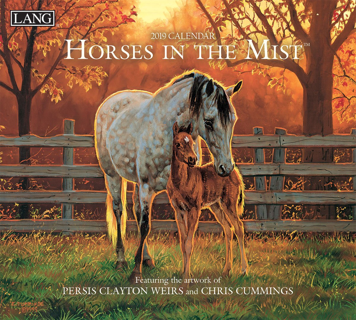 The Lang Companies 19991001917 Horses in The Mist 2019 Full Sized Wall Calendar Premier Gift Limited