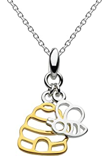 Dew Sterling Silver and Rose Gold Plate Charming Mushroom Necklace of Length 45.7cm