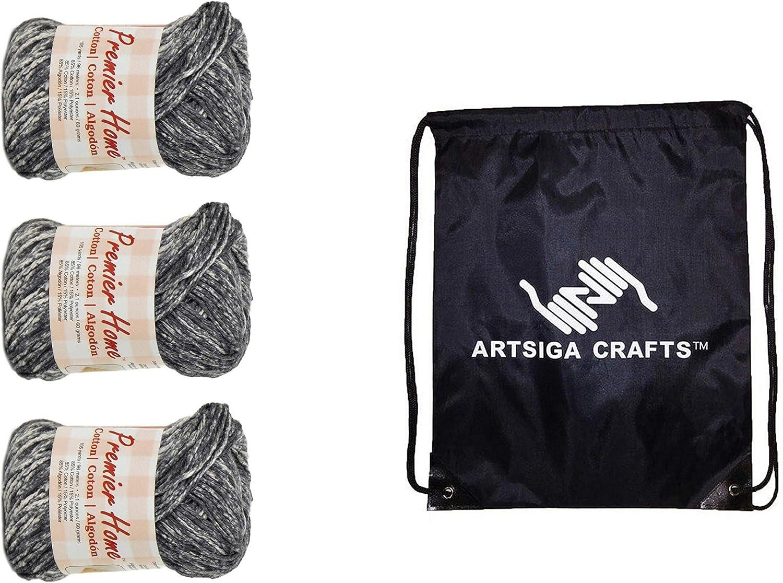 Premier Knitting Yarn Home Cotton Multi Summer Kitchen 3-Skein Factory Pack Same Dye Lot 44-18 Bundle with 1 Artsiga Crafts Project Bag