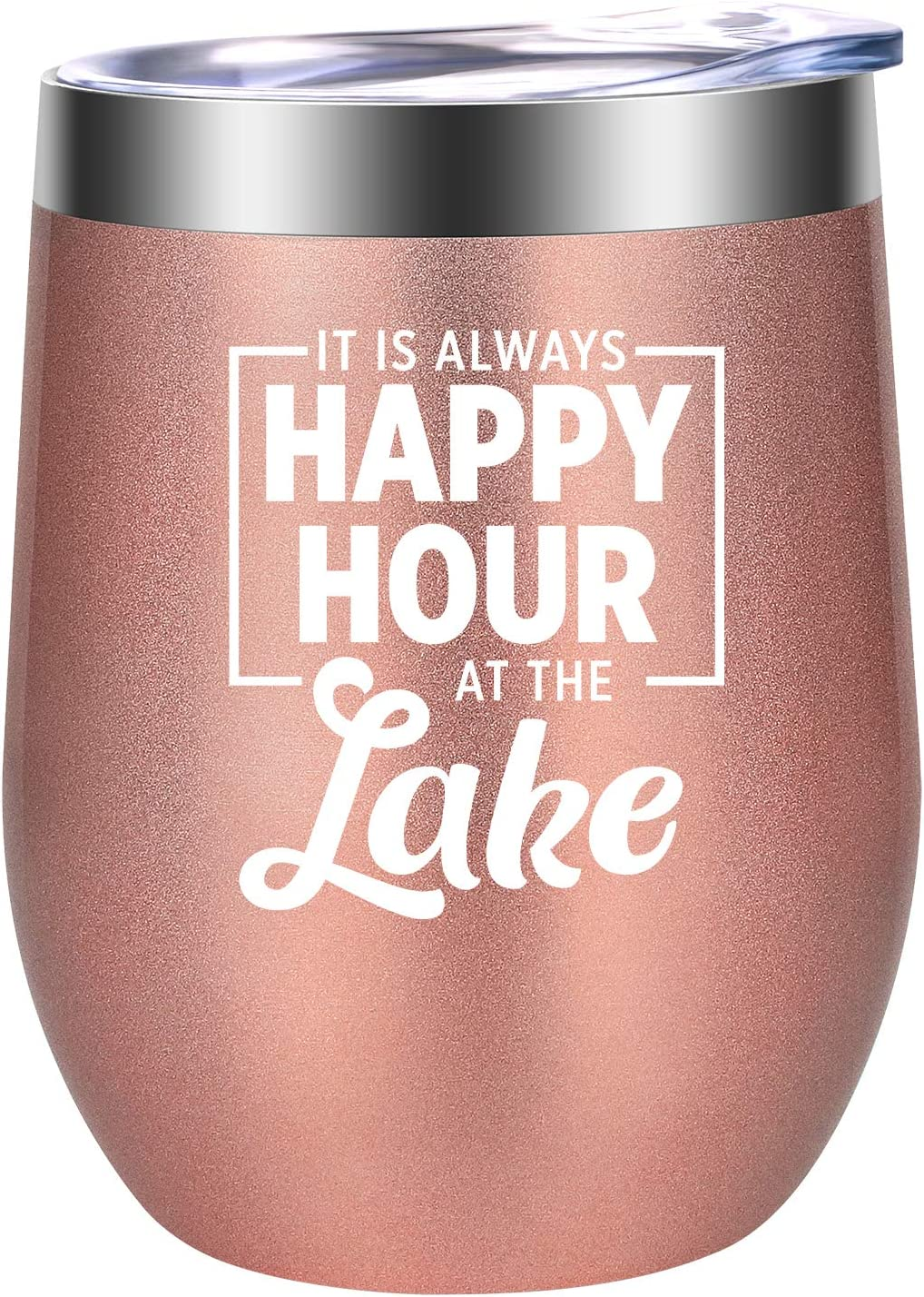 Lake House Gifts, Lake House Decor, It's Always Happy Hour at the Lake - Funny Birthday, Christmas Gifts for Women Lake Lovers, Best Friend, Wife, Mom, Grandma, Hostess - LEADO Lake Life Wine Tumbler