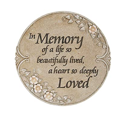 In Memory of Life Beautifully Lived Loved 10 Inch Stone Luminous Garden Stepping Stone : Garden & Outdoor