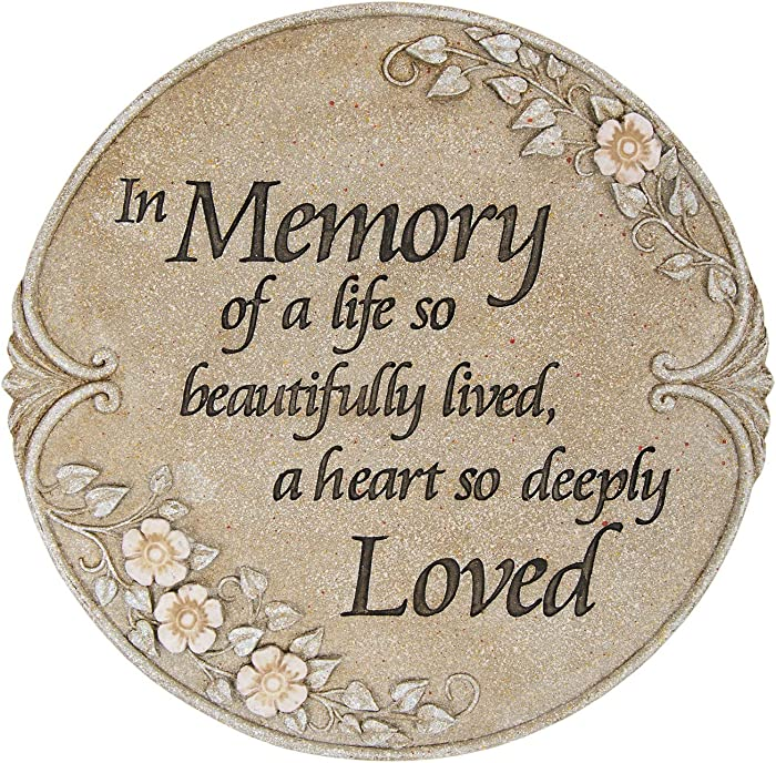 In Memory of Life Beautifully Lived Loved 10 Inch Stone Luminous Garden Stepping Stone