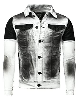 Millésime Homme Blanc tqpC7 Kingz Jeans Toile Veste XXL Hommes Jacket Jean ggw6rd