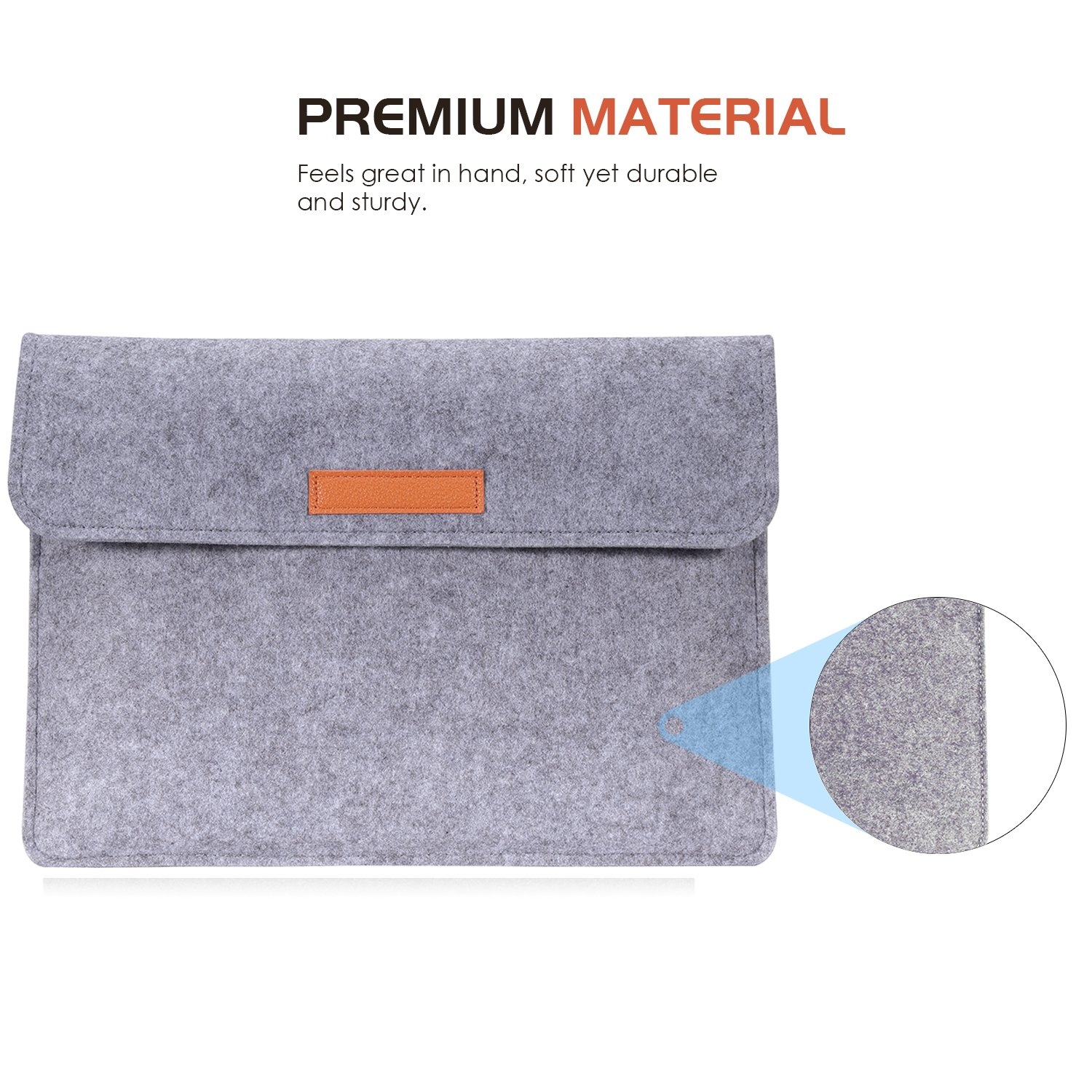 MoKo 13.5 Inch Laptop Sleeve Case Bag Compatible with Surface Laptop 2 // Surface Book 2 13.5 Dark Gray with Small Felt Bag /& Two Back Pockets Felt Protective Ultrabook Carrying Case Cover