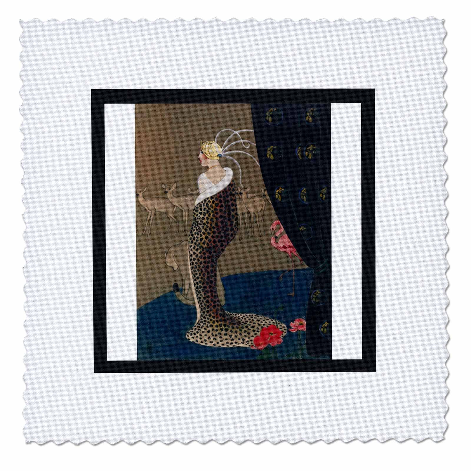 3dRose Print Of WPA Art Deco Woman In Cheetah Coat With Animals - Quilt Square, 12 by 12-inch (qs_223023_4)
