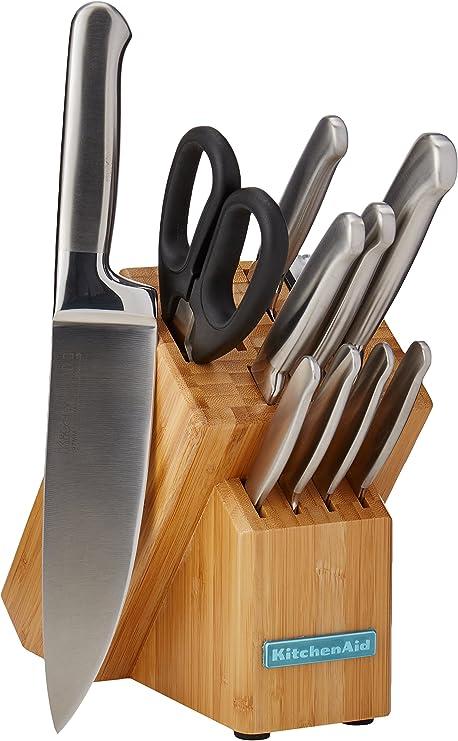 Amazon Com Kitchenaid Classic Forged Cubertería 12 Piezas Acero Inoxidable Cepillado Color Marrón Kitchen Dining