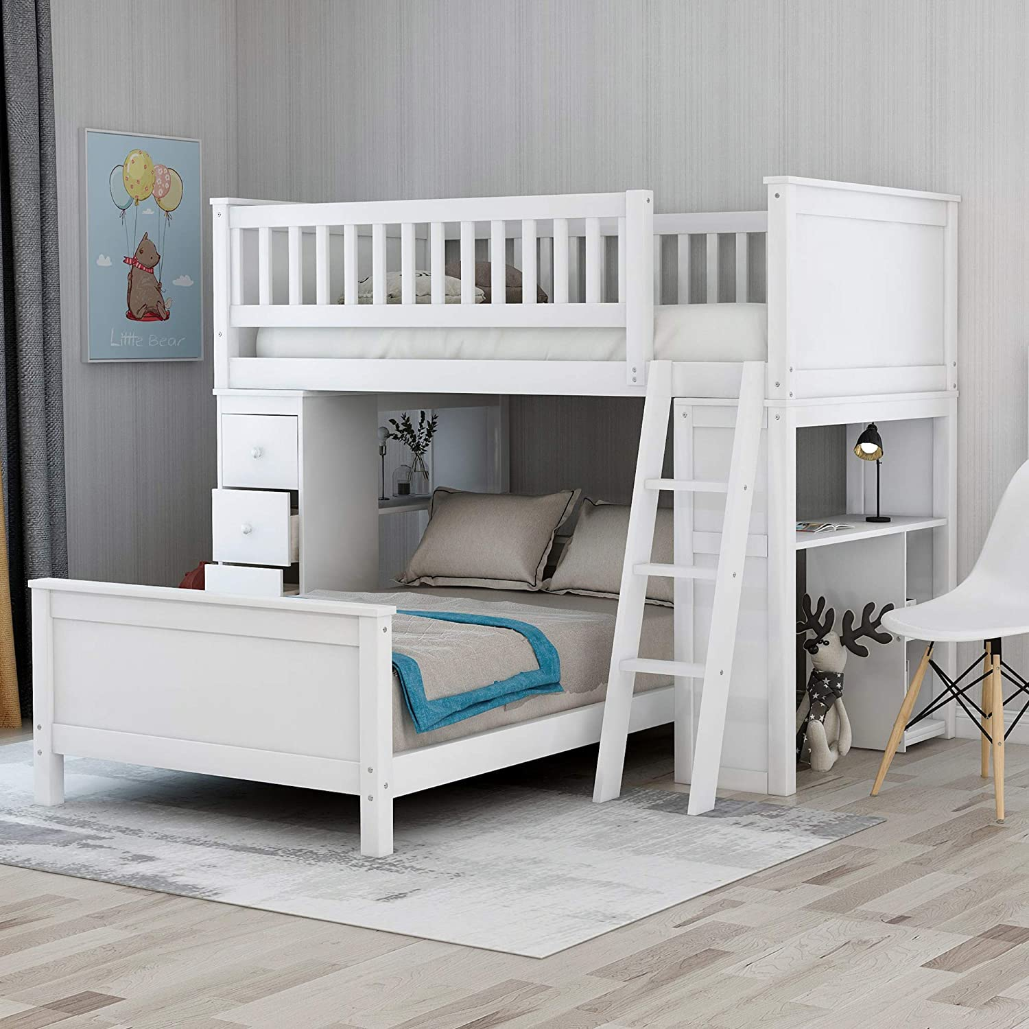 Amazon Com Twin Over Twin Size Bunk Beds Loft Bed With Shelves 4 Drawers For Kids White Kitchen Dining