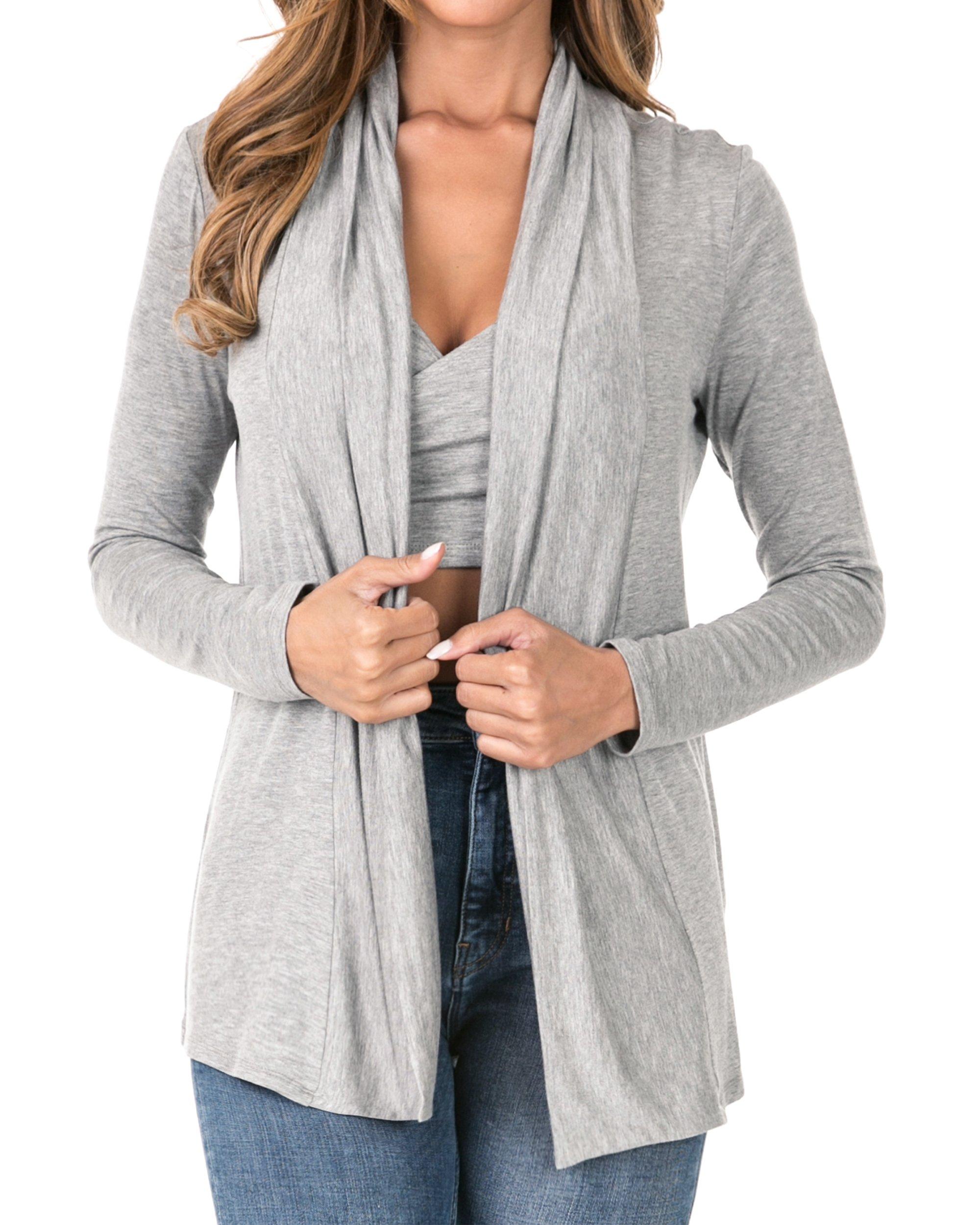 Nolabel B7_029 Women's Rayon Draped Open Front Shawl Collar Long Sleeve Cardigan Outer (H.Gray/XS)