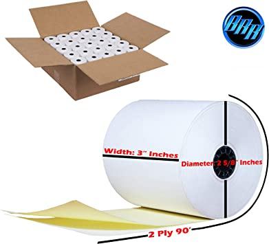 """2 Ply Carbonless Receipt Rolls 3/"""" x 95/'  2-Ply White//Canary 50 Rolls"""