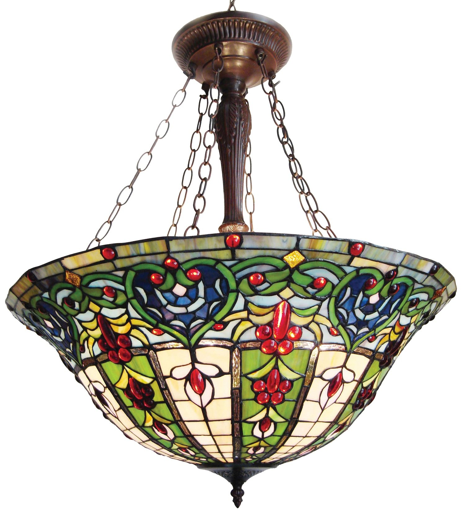 Chloe Lighting CH24A35G-UPD3 Tiffany-Style Victorian 3-Light Inverted Large Ceiling Pendant Fixture with 24-Inch Shade