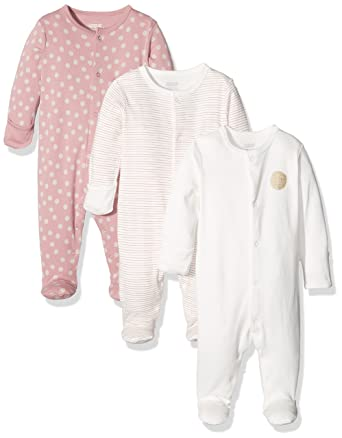 Mamas /& Papas Baby Girls Sleepsuit Pack of 3