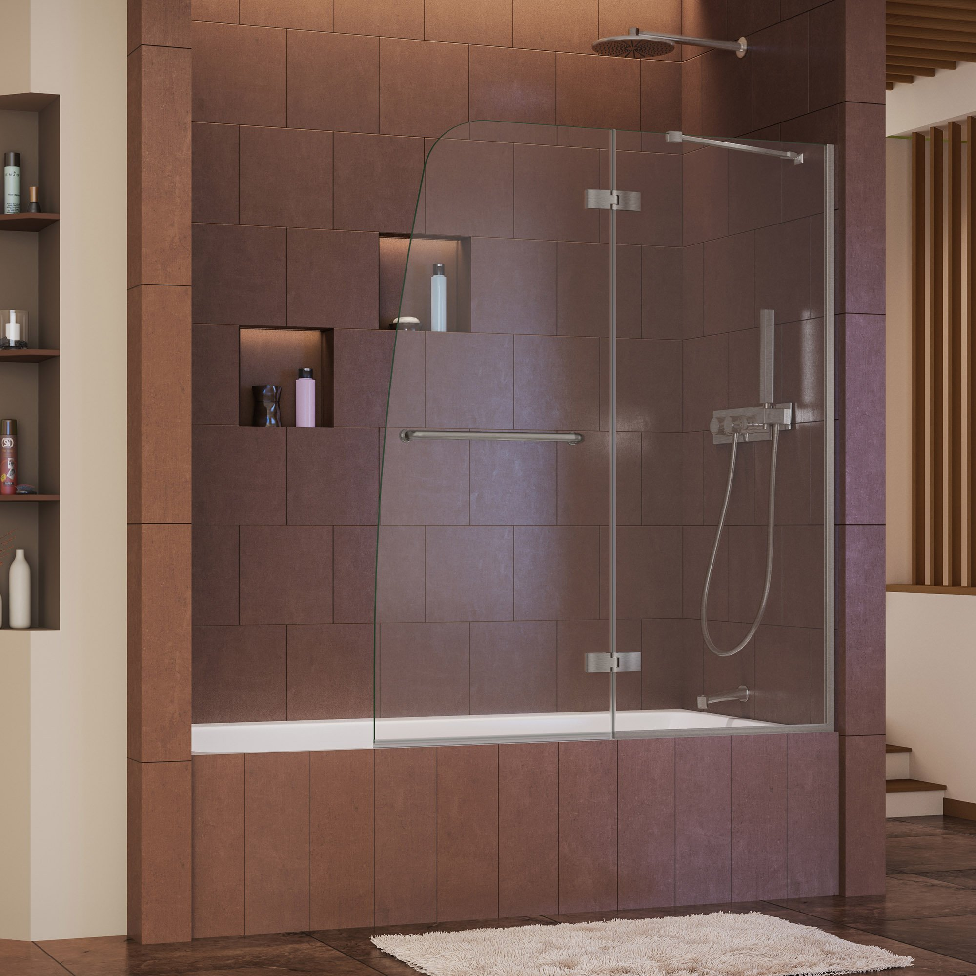 DreamLine Aqua Ultra 48 in. Width, Frameless Hinged Tub Door, 5/16'' Glass, Brushed Nickel Finish