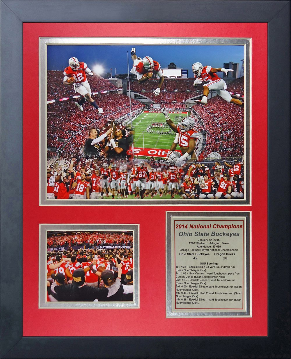 NCAA Ohio State Buckeyes Legends Never Die Framed Photo Collage (2014 CFP Football National Champions), Celebration 2, 11 x 14-Inch by Legends Never Die
